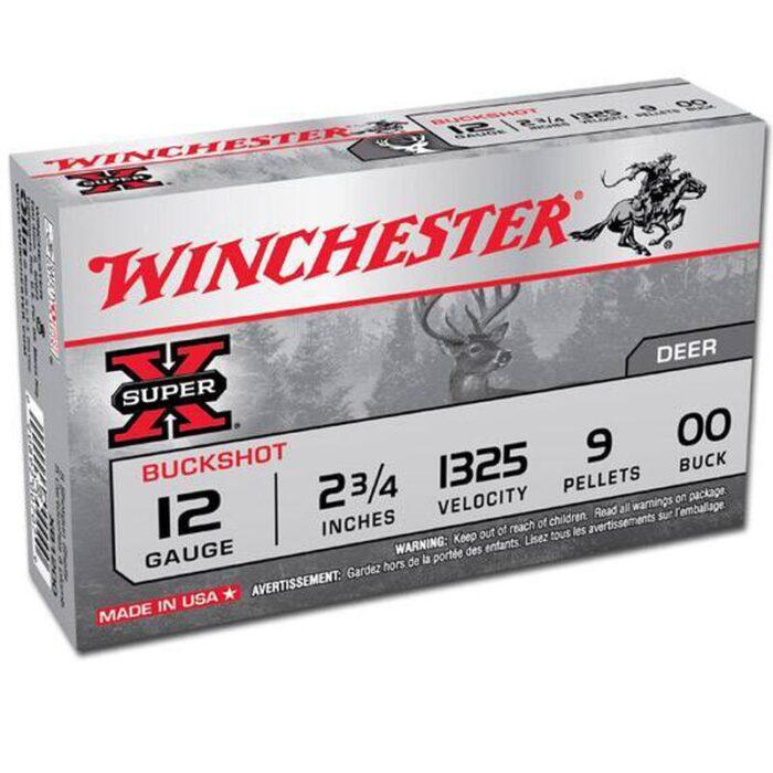 """Winchester Super X 12 Gauge Buck Shot Shotshell 5 Rounds, 2.75"""", Nine Pellet, Lead 00 Buck"""