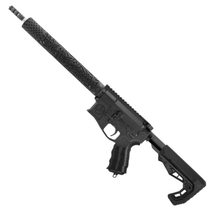 """Unique-ARs WeThePeople-15 .223 Wylde AR-15 Semi Auto Rifle 16"""" Barrel 30 Rounds Free Float Forend Carbine Stock Matte Black"""