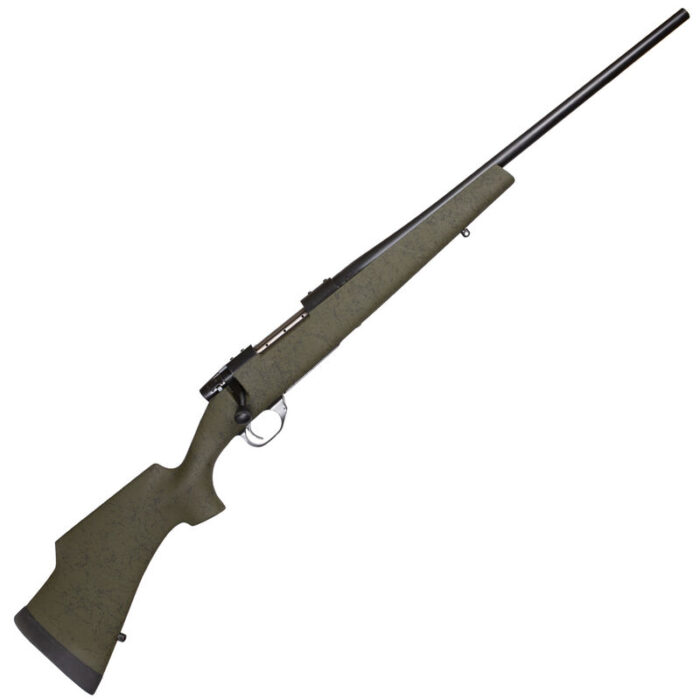 """Weatherby Vanguard Camilla Wilderness .243 Winchester Bolt Action Rifle 20"""" Barrel 5 Rounds Green Fiberglass Stock With Black Webbing Matte Blued Finish"""