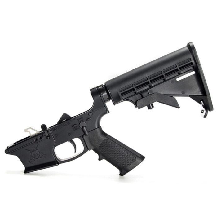 KE Arms KE-9 Billet Complete AR-15 Lower Receiver Assembly GLOCK Magazine Compatible Billet Aluminum A2 Pistol Grip Carbine Stock Matte Black