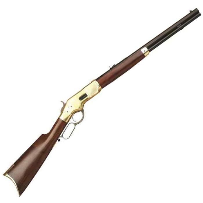 "Cimarron 1866 Yellowboy Lever Action Short Rifle .44-40 Win 20"" Barrel 10 Rounds Brass Receiver Walnut Stock Blued CA231"