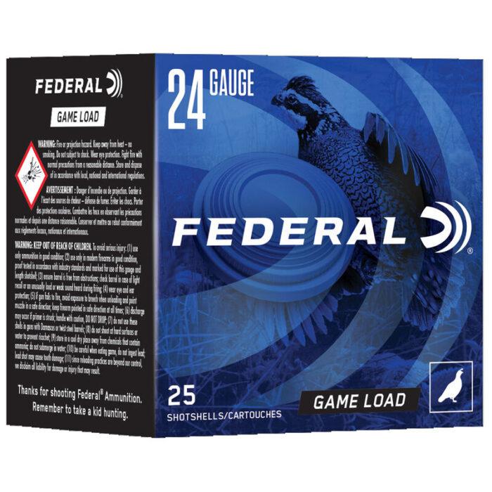 """Federal Game Load Upland 24 Gauge Ammunition 2-1/2"""" #8 Lead Shot 11/16 Ounce 1280 fps"""