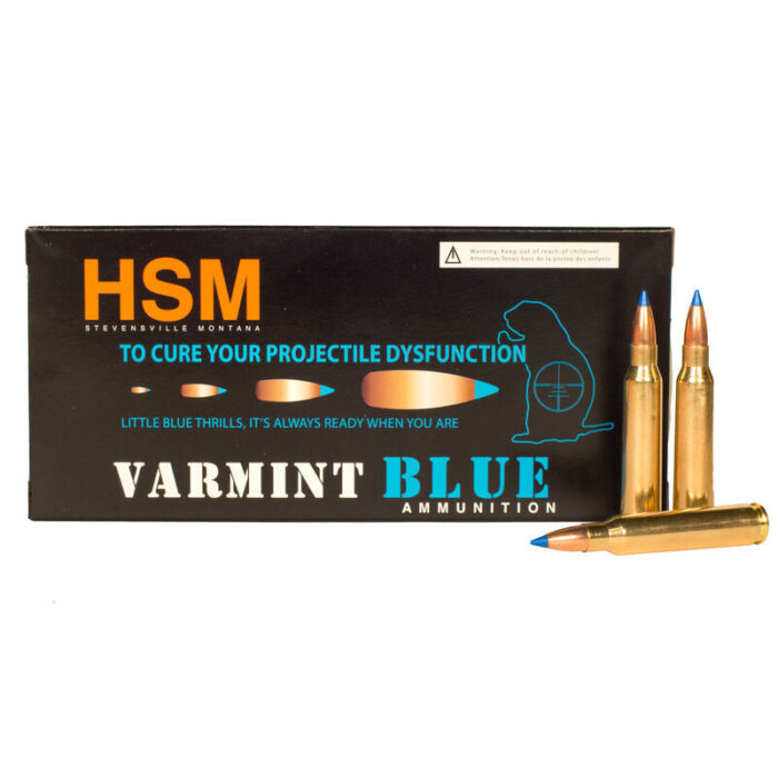 HSM Varmint Blue 5.56 NATO Ammunition 20 Rounds 55 Grain Sierra BlitzKing Blue Polymer Tip Projectile