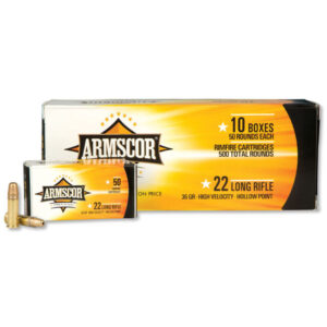 Armscor Precision .22LR Ammunition 36 Grain High Velocity Hollow Point 1247 fps 5000 Round Case FAC 22LR-1N 50015PH