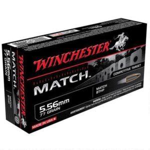 Winchester Match 5.56 NATO Ammunition 200 Rounds, BTHP, 77 Grains