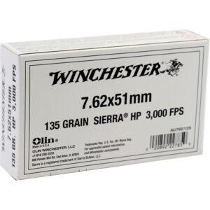 Winchester 7.62 NATO Ammunition 20 Rounds HP 135 Grain Brass Cased Boxer Primed