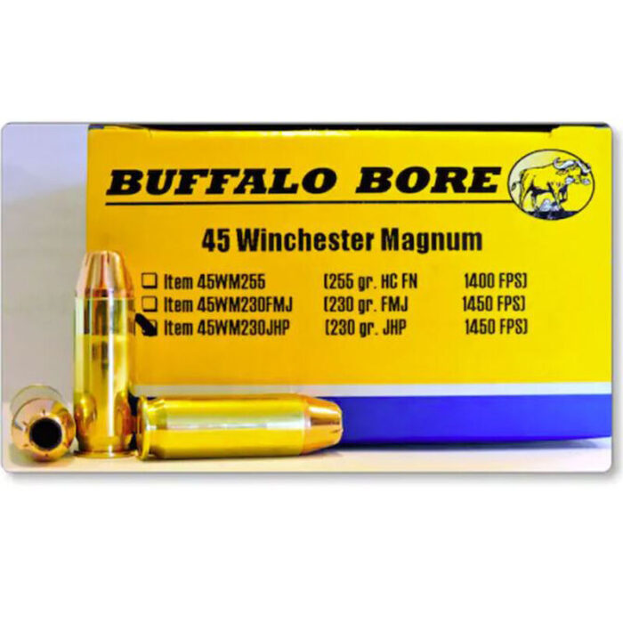 Buffalo Bore .45 Winchester Magnum Ammunition 20 Rounds JHP 230 Grain 45WM230JHP/20 1 Question, 2 Answers or Be the first to write a review