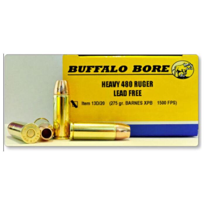 Buffalo Bore .480 Ruger Ammunition 20 Rounds Barnes XPB Lead Free JHP 275 Grain 13D/20