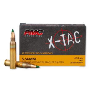 PMC X-TAC 5.56 NATO M855 Ammunition 20 Rounds SS109 Green Tip FMJ 62 Grains 556K